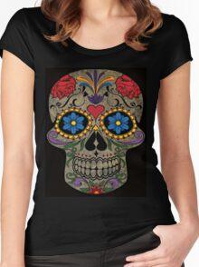 Happy Skull,Sugar Skull,Dia De Los Muertos,Halloween Artwork Women's Fitted Scoop T-Shirt