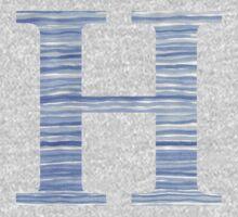 Letter H Blue Watercolor Stripes Monogram Initial Kids Tee