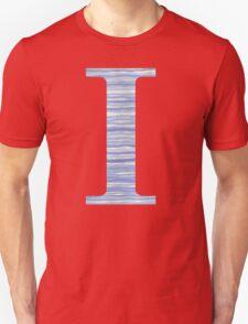 Letter I Blue Watercolor Stripes Monogram Initial Unisex T-Shirt