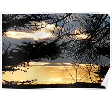 Moody Blue and Molten Gold Sunset Poster