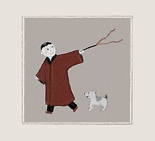 Playful Asian Boy and His Dog by Sarah Countiss