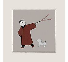 Playful Asian Boy and His Dog Photographic Print