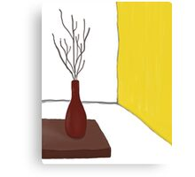 Red Vase and Yellow Wall  Canvas Print