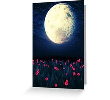 Moon over Grass Field 4 Greeting Card