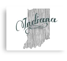 Indiana State Typography Canvas Print