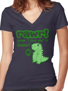 RAWR! Means I Love You In Dinosaur Women's Fitted V-Neck T-Shirt