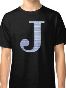 Letter J Blue Watercolor Stripes Monogram Initial Classic T-Shirt
