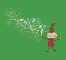 Magical Christmas Elf With White Swirls One Piece - Short Sleeve