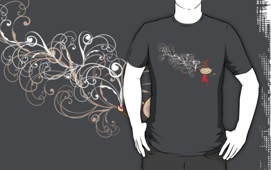 Swirly Magical Christmas Elf T-shirt (on dark) by fatfatin