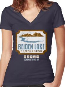 Reiden Lake Campground Women's Fitted V-Neck T-Shirt