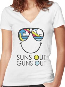 Suns Out Guns Out Women's Fitted V-Neck T-Shirt