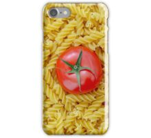 Tomato with fusilli pasta as background iPhone Case/Skin