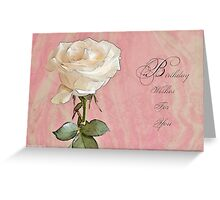 Birthday Wishes For You Card With White Rose Greeting Card