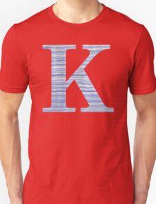 Letter K Blue Watercolor Stripes Monogram Initial Unisex T-Shirt