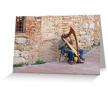 The Harpist Of San Gimignano Greeting Card