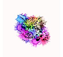 Bright Colorful Watercolor Snow Leopard Photographic Print