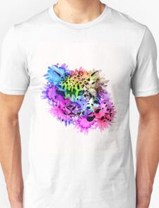 Bright Colorful Watercolor Snow Leopard T-Shirt