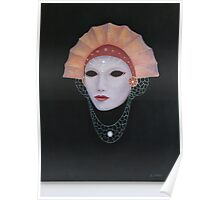 Venetian Mask with orange Fan hat. Poster