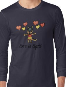 Love is Light: Cute German Shepherd Dog Watercolor Illustration Long Sleeve T-Shirt