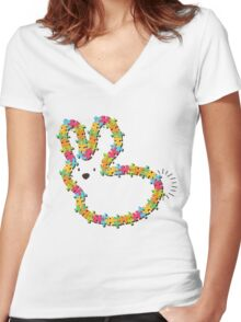 Colorful Jigsaw Whimsical Baby Bunny Women's Fitted V-Neck T-Shirt