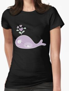 Whimsical Purple Pregnant Mommy Whale Womens Fitted T-Shirt