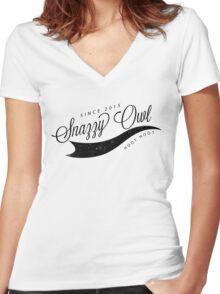 Snazzy Owl Fancy Logo - Black Women's Fitted V-Neck T-Shirt