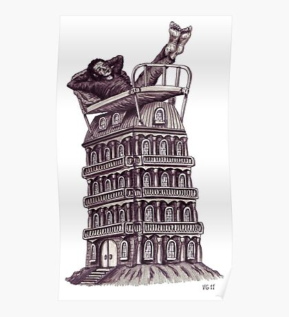 Dreamer on the roof surreal black and white pen ink drawing Poster