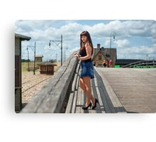 Beauty girl on the old-time bridge. Canvas Print