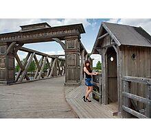 Beauty girl on old-time bridge. Photographic Print
