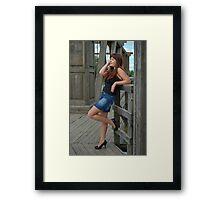 Beauty girl on the old-time bridge. Framed Print