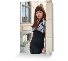 Beauty woman on the street. Greeting Card