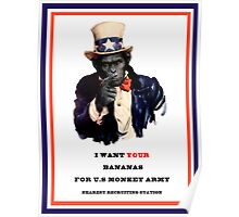 Uncle monkey wants your bananas Street Art Poster
