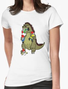 Godzilla Monster and Gnomes Womens Fitted T-Shirt