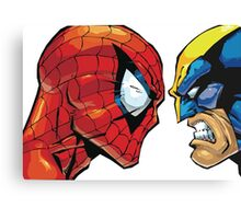 spiderman vs wolverine Canvas Print
