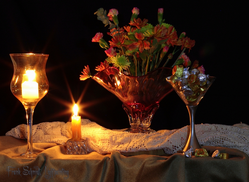 2 Candles and Flowers (still life) by FrankSchmidt