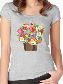 Spring Flowers Whimsical Cupcake Women's Fitted Scoop T-Shirt