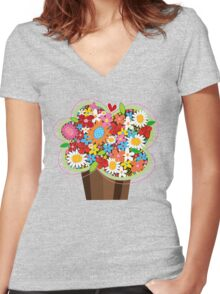 Spring Flowers Whimsical Cupcake Women's Fitted V-Neck T-Shirt