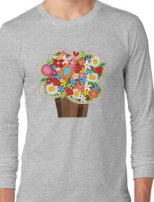Spring Flowers Whimsical Cupcake Long Sleeve T-Shirt