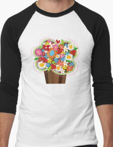 Spring Flowers Whimsical Cupcake Men's Baseball ¾ T-Shirt