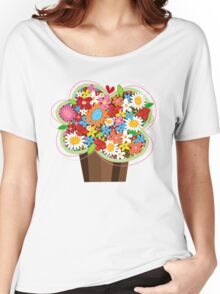 Spring Flowers Whimsical Cupcake Women's Relaxed Fit T-Shirt