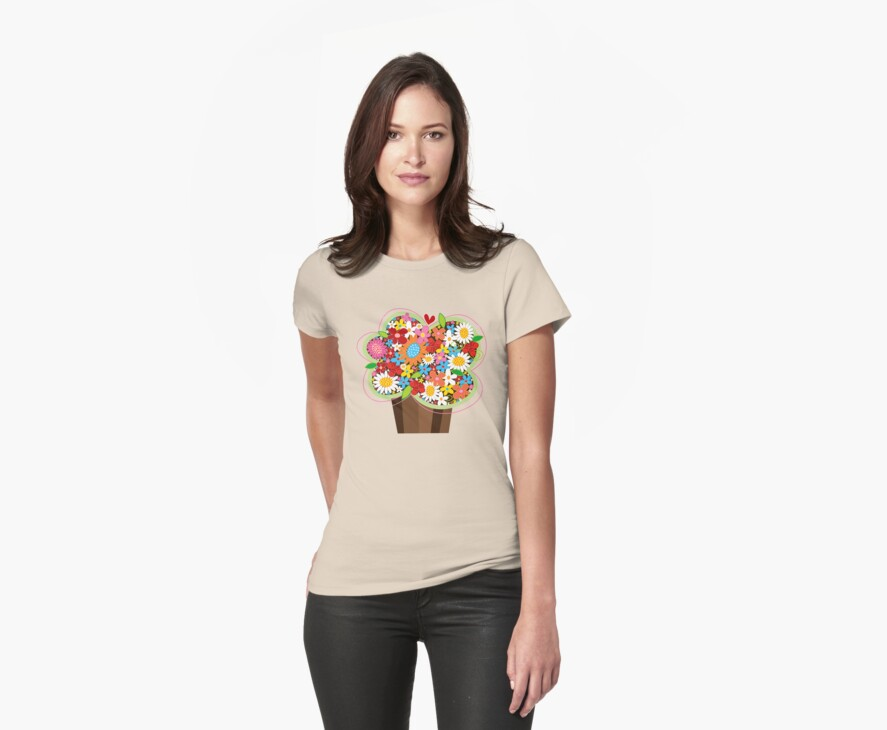 Spring Flowers Cupcake T-shirt by fatfatin