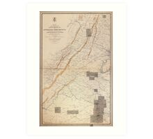 Civil War Map Gettysburg and Appomattox Court House (1869) Art Print