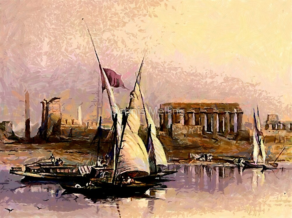 Dahabieh or Nile Sailing Boat at the ruins of Luxor 1838 by Dennis Melling