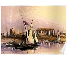 Dahabieh or Nile Sailing Boat at the ruins of Luxor 1838 Poster
