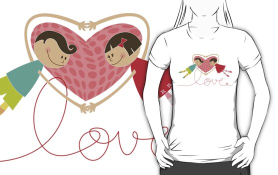 Valentine Boy Hearts Girl T-shirt (light) by fatfatin