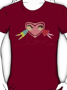 Valentine Boy Hearts Girl T-shirt (light) T-Shirt