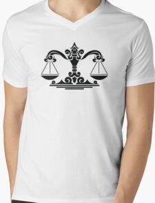 Zodiac Sign Libra Black Mens V-Neck T-Shirt