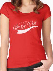 Snazzy Owl Fancy Logo - White Women's Fitted Scoop T-Shirt