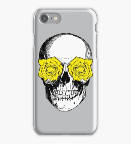 Skull and Roses | Grey and Yellow iPhone Case/Skin