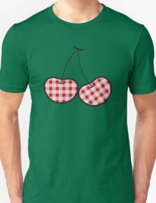 Red Plaid Cute Cheeky Cherries Unisex T-Shirt